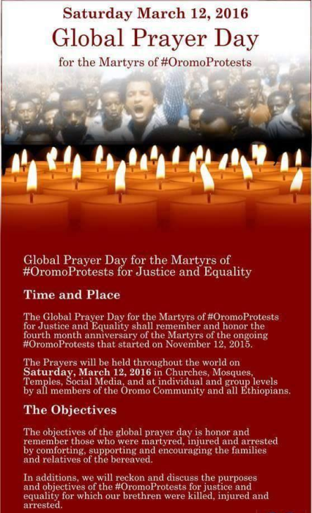 Globaly Prayers Day for the Martyrs of #OromoProtests, 12 March 2016