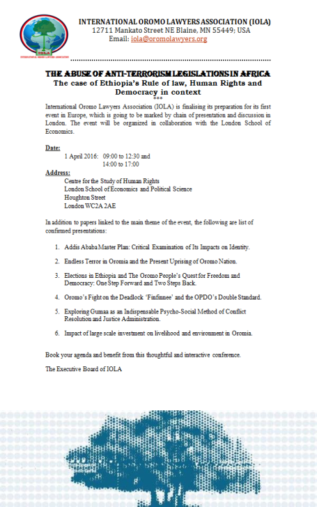 International Oromo Lawyers  Association  Mid Year Conference at LSE, 1st  April 2016