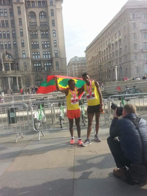 Oromo athlete Dejene Gezimu clinches victory in  the 2016 Vitality Liverpool Half Marathon. p2