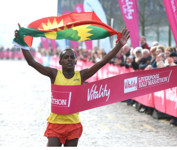 Oromo athlete Dejene Gezimu clinches victory in  the 2016 Vitality Liverpool Half Marathon