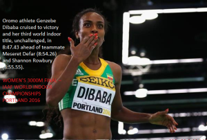 Oromo athlete Genzebe Dibaba cruised to victory and her third world indoor title, Portland 2016, 20  March 2016