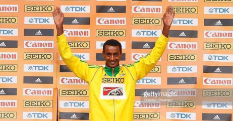 Oromo athlete Yomif Qajelchaa cruised to victory  for the world indoor title in men's 3000m, Portland 2016, 20  March 2016