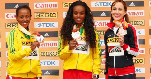 Oromo athletes Genzebe Dibaba and Meseret dafar cruised to in the world indoor race  in women's 3000m, Portland 2016, 20  March 2016