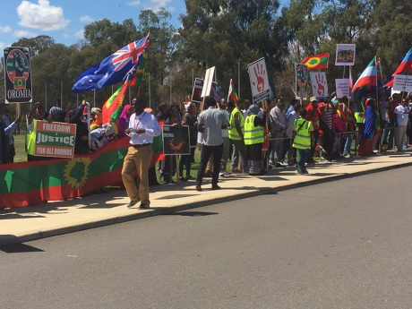 #OromoProtests, Austerelian Oromo Community solidarity rally in front of Austerelian Parliament, 17 March 2016.png