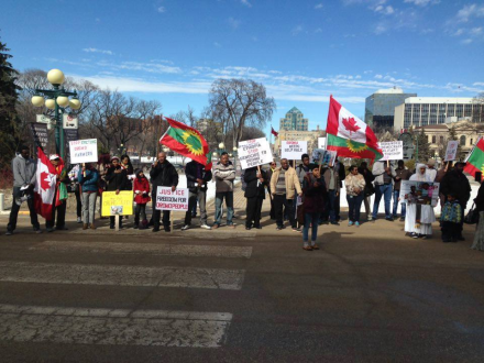 #OromoProtests Global solidarity rally in Winnipeg, Canada , 11 March 2016.