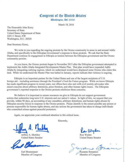 Portland Senators Jeffrey A Merkley & Ron Wyden write letter to Secretary of State John Kerry urging him to ensure resource given to Ethiopia are not just for purposes that undermine US long term interst