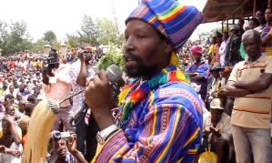 Kala Gezahegn, the leader of the Konso people, addresses a crowd
