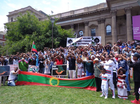 Members of the Oromo community in Melbourne protest against the Ethiopian regime, 9 April 2016