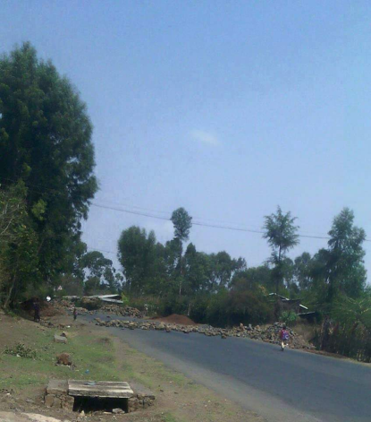#OromoProtests in Bundhoo Bedellee, roads closed, 5 April 2016