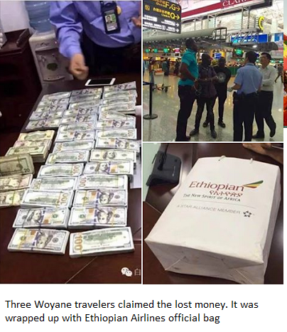 Three Woyane travelers claimed the lost money. It was wrapped up with Ethiopian Airlines official bag