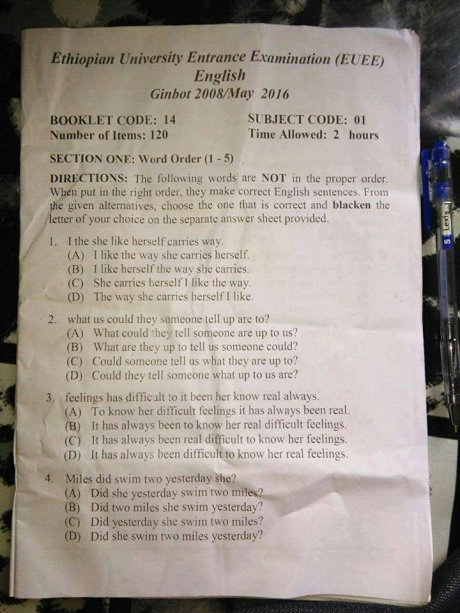 Ethiopian 12th grade for University entrance exam has been leaked