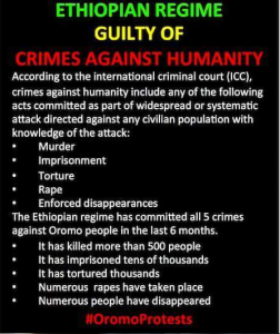 Ethiopian regime guilty of crime against humanity