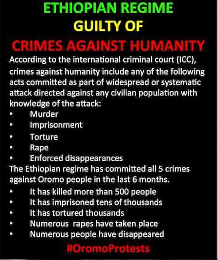 Ethiopian regime guilty of crime against humanity