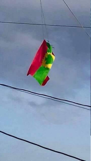 Oromia national flaga high on sky in Oromia at a Loodee Jimaataa, 25 May 2016