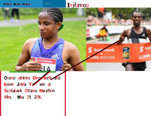 Oromo athletes Dino Sefir and Koren Jelela Yal beat the heat and they beat the fields to win Scotiabank Ottawa Marathon titles, Sunday, May 29, 2016.