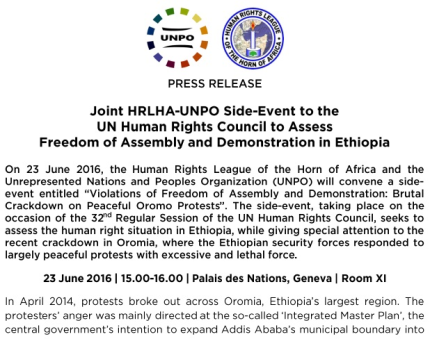 Joint HRLHA- UNPO Side Event on the occassion of the 32nd Regular Session of the UN Human Rights Council, seeks to assess the human right situation ine Ethiopia