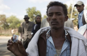 Mersen Chala, brother of Dinka Chala, who was killed by Ethiopian forces for protesting, but his family says he was not involved ,December 17, 2015, Oromia.