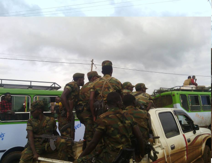 More reinforcement of Ethiopia's regime fascist ( Agazi) soldiers arrived in Begi, West Walaga, Oromia, 29 July 2016. p2