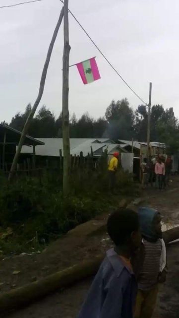 Oromo National flag raise High up in Gincii, Gaalessaa town, Central Oromia, July 2016.