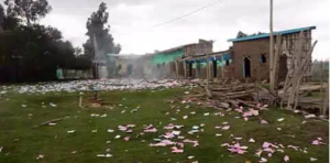 #OromoProtests in Tijo-Waqantera town in Gadab Asasa district, West Arsi (Oromia) destroyed every fascist Ethiopia's regime local office they could find. 30 July 2016. p2
