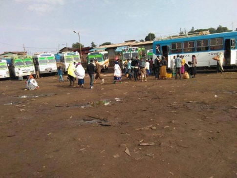 Passengers stranded at Ginchi bus station as drivers strike in Oromia, 18 July 2016.