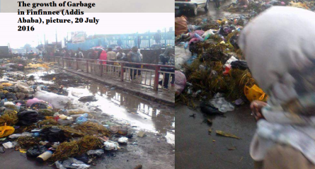 TPLF Ethiopia's regime's economic record, the growth of Garbage in Finfinnee (Addis Ababa, picture, 20 July 2016