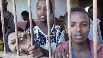 Fascist Ethiopia's regime's detaining and torturing Oromo children. This photo was taken at Iyasu IV prison in Gara Mulata, East Hararge, Oromia. 13 August 2016. p1