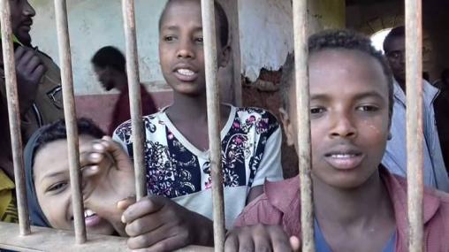 Fascist Ethiopia's regime's detaining and torturing Oromo children. This photo was taken at Iyasu IV prison in Gara Mulata, East Hararge, Oromia. 13 August 2016. p1