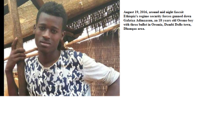 fascsit Ethiopia's regime security forces gunned down Galataa Adimaasuu, an 18 years old Oromo boy with three bullet in Oromia, Dembi Dollo town, Dhanqaa area.