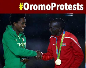 Feyisa Lelisa, Oromo Olympic Marathon silver medalist and #OromoProtests global icon and Eliud Kipchoge of Kenya, Rio 2016 Olympic Marathon Gold medallist