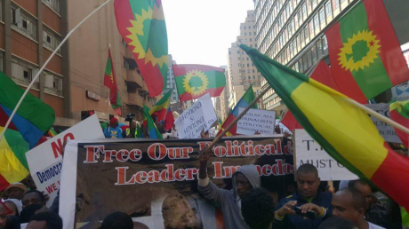 Grand #OromoProtests Global solidarity joint Ethiopians Rally Held in South Africa on 18 August 2016