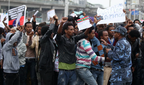 Grand #Oromoprotests in Finfinnee, image by Quartz