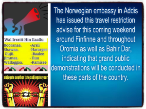 Grand #OromoProtests on August 6, 2016, Norwegian Embassy in Finfinnee, travel restrictions