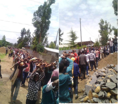 Grand #OromoProtests Youth Returning from a funeral service for Zubeyri Kadir in Robe, Bale. 8 August 2016