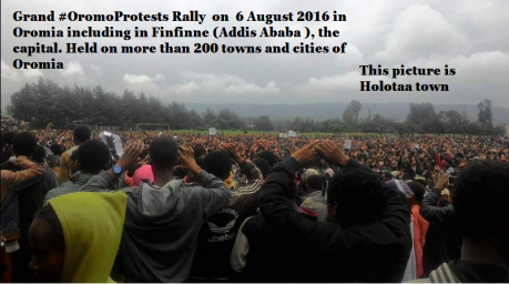 #GrandOromoProtests 6 August 2016, in Oromia including  in Finfinnee (Addis Ababa), the capital.