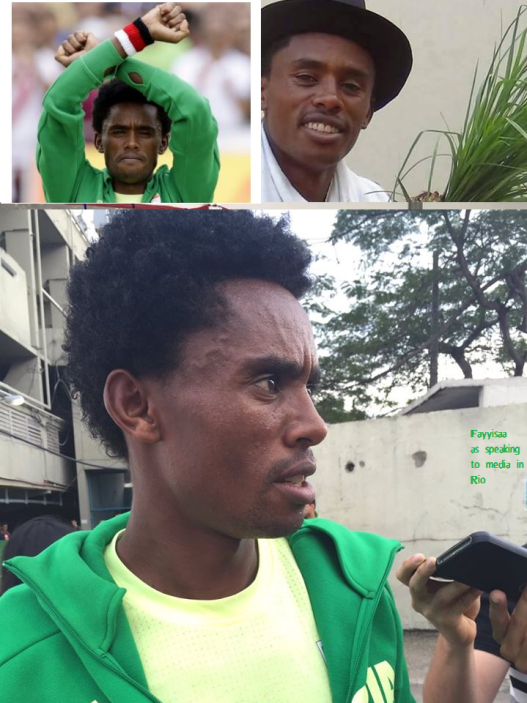 Hero Hero, double hero in Olympic Marathon, Rio 2016 and Oromummaa. Oromo athlete. Fayyisaa Lelisa as he speaking to media pl