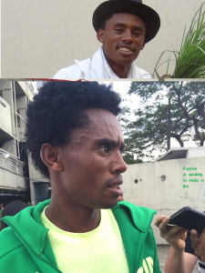 Hero Hero, double hero in Olympic Marathon, Rio 2016 and Oromummaa. Oromo athlete. Fayyisaa Lelisa as he speaking to media