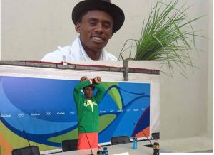 Hero Hero, double hero in Olympic Marathon, Rio 2016 and Oromummaa. Oromo athlete. Fayyisaa Lelisa at press conference. p1