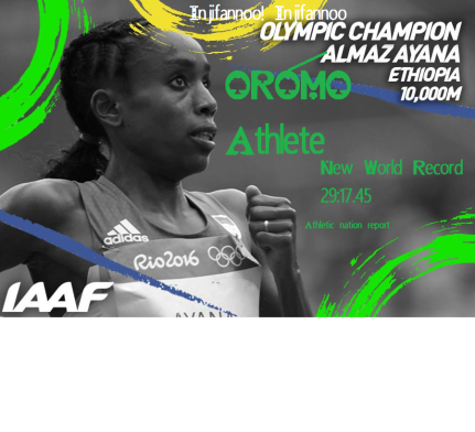 Oromo athlete Almaz Ayana is Olympic Champion with new world record. #Rio2016
