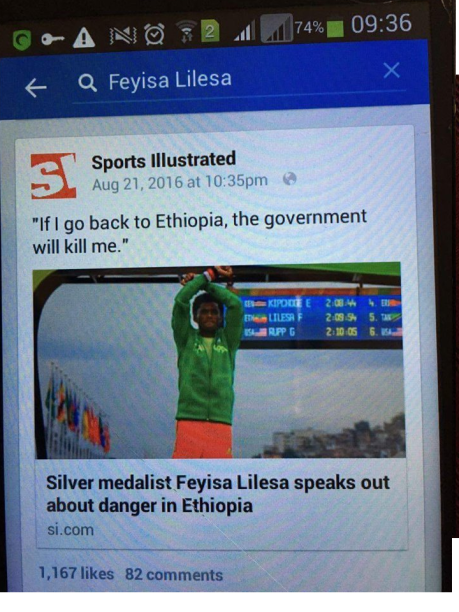 Oromo Olympic marathon athlete Fayyisaa Lalisaa in the social and international media. #OrompProtests global icon. p2