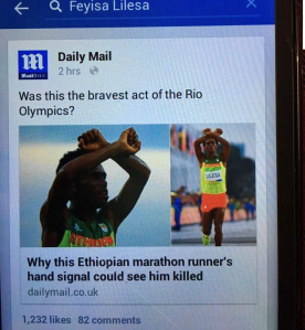 Oromo Olympic marathon athlete Fayyisaa Lalisaa in the social and international media. #OrompProtests global icon. p3
