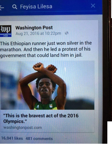 Oromo Olympic marathon athlete Fayyisaa Lalisaa in the social and international media. #OrompProtests global icon. p4