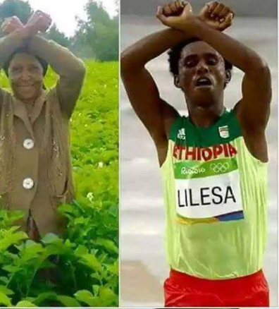 Oromo Olympic marathon athlete Fayyisaa Lalisaa in the social and international media. #OrompProtests global icon. p5