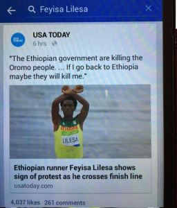 Oromo Olympic marathon athlete Fayyisaa Lalisaa in the social and international media. #OrompProtests global icon. pl