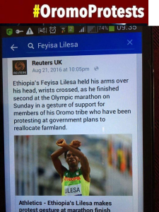 Oromo Olympic marathon athlete Fayyisaa Lalisaa in the social and international media. #OrompProtests global icon