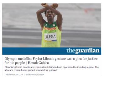 Oromo Olympic marathon athlete Fayyisaa Lalisaa on the Guardian. #OrompProtests global icon