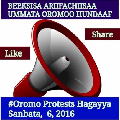 #OromoProtests, beeksisa, Hiriiraa Hagayya 6 bara 2016