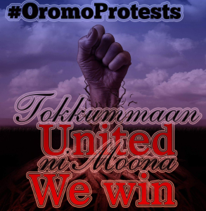 #OromoProtests, United voices of millions of Oromos will win! Ni moona. Oromia Times