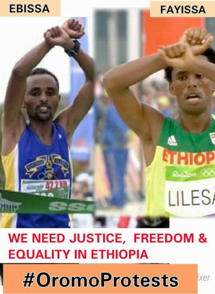 Quebec City Marathon winner, Oromo athlete, Ebisa Ejigu, replicates Rio Olympic medallist's #OromoProtests. p2