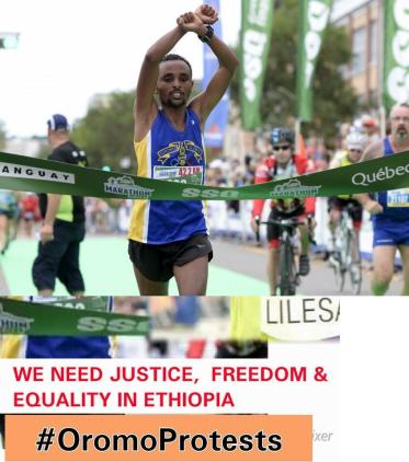 Quebec City Marathon winner, Oromo athlete, Ebisa Ejigu, replicates Rio Olympic medallist's #OromoProtests. p3